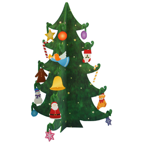 Papercraft de un mini árbol de Navidad básico. Manualidades a Raudales.