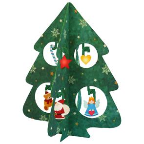 Papercraft de un mini árbol pop de Navidad. Manualidades a Raudales.