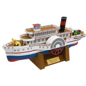 Papercraft imprimible y armable del Barco de vapor con ruedas. Manualidades a Raudales.