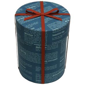 Papercraft de una caja de regalo azul. Manualidades a Raudales.
