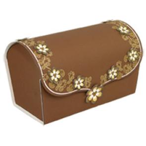 Papercraft de una caja de regalo marrón con flores. Manualidades a Raudales.