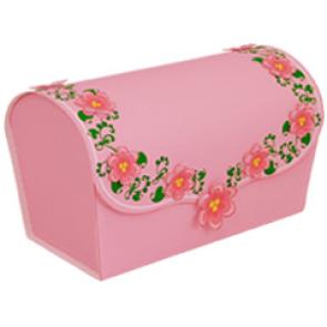 Papercraft de una caja de regalo rosa con flores. Manualidades a Raudales.