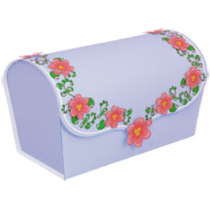 Papercraft de una caja de regalo violeta con flores. Manualidades a Raudales.