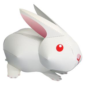 Papercraft de un Conejo blanco. Manualidades a Raudales.