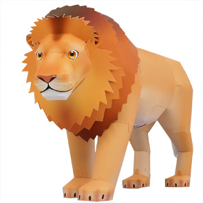 Papercraft de un León / Lion. Manualidades a Raudales.