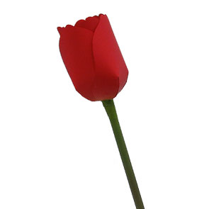 Papercraft de un Tulipán rojo. Manualidades a Raudales.