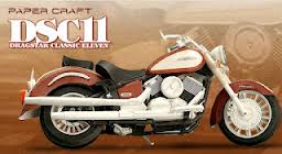 Papercraft recortable de la motocicleta Yamaha Dragstar Classic Eleven. DSC11. Manualidades a Raudales.