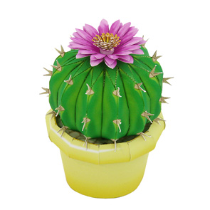 Papercraft recortable de un Cactus Notocactus. Manualidades a Raudales.