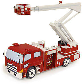 Papercraft de un Camión de bomberos con escalera. Manualidades a Raudales.