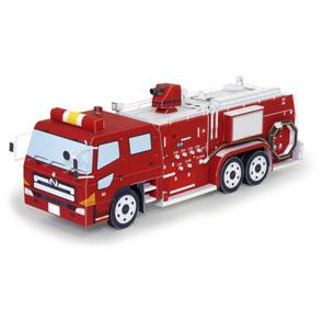 Papercraft imprimible y armable de un Camión de bomberos. Manualidades a Raudales.