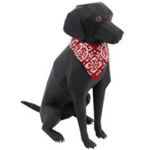 Papercraft del Perro Labrador Retriever Negro. Manualidades a Raudales.