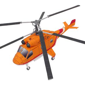 Papercraft de un Helicóptero twin. Manualidades a Raudales.