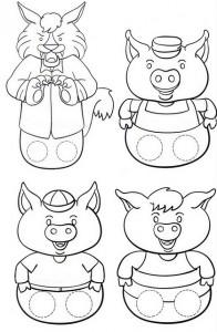 Marionetas dedos de los 3 cerditos. Manualidades a Raudales.