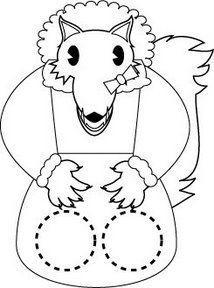 Marioneta dedos del lobo abuelita. Manualidades a Raudales.