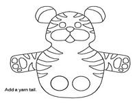 Marioneta dedos de un tigre. Manualidades a Raudales.
