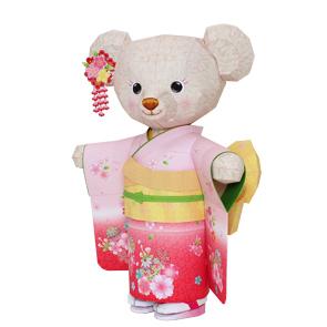 Papercraft de Osito de peluche con kimono. Manualidades a Raudales.