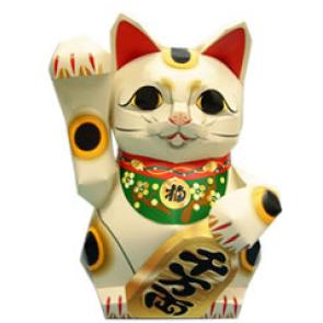 Papercraft imprimible y armable del Gato afortunado del dinero. Manualidades a Raudales.