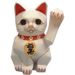 Papercraft del Gato afortunado de la gente. Manualidades a Raudales.
