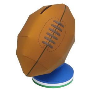 Papercraft de una Hucha pelota rugby. Manualidades a Raudales.