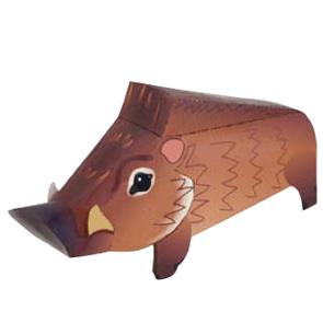 Papercraft imprimible y armable de un Jabalí / Wild Boar. Manualidades a Raudales.