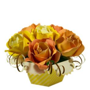 Papercraft recortable de un ramo de rosas. Manualidades a Raudales.