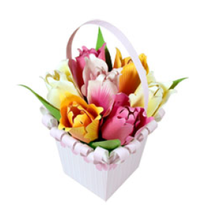 Papercraft recortable de un ramo de tulipanes. Manualidades a Raudales.