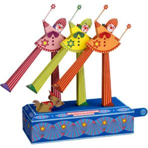 Papercraft del Circo. Baile de payasos con zancos. Manualidades a Raudales.