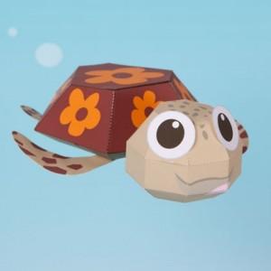 Papercraft de Squirt personaje de Nemo. Manualidades a Raudales.