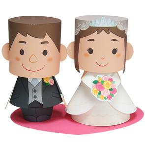 Papercraft imprimible y armable novios con mensaje de boda. Manualidades a Raudales.