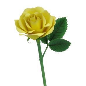 Papercraft recortable de una Rosa amarilla. Manualidades a Raudales.