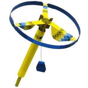 Papercraft de un Volador helicóptero amarillo. Manualidades a Raudales.