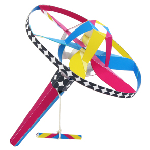 Papercraft de un Volador helicóptero multicolores. Manualidades a Raudales.