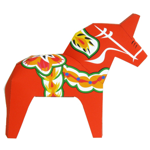 Papercraft imprimible y armable del Caballo Dalecarlia. Manualidades a Raudales.