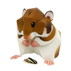 Papercraft imprimible y armable de un Hámster Sirio / Syrian Hamster. Manualidades a Raudales.