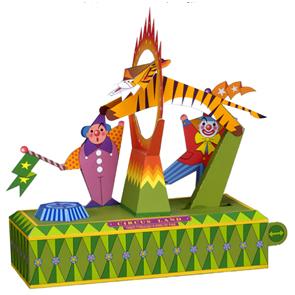 Papercraft del Circo. Tigre saltando aro con fuego. Manualidades a Raudales,