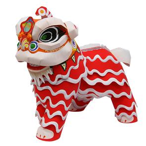 Papercraft imprimible y armable de la Danza del león. Manualidades a Raudales.