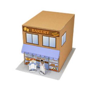 Papercraft imprimible y armable de una Tienda / Shop. Manualidades a Raudales.