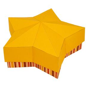 Papercraft de una caja de regalo estrella amarilla. Manualidades a Raudales.