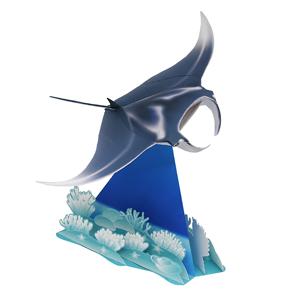 Papercraft de un pez manta. Manualidades a Raudales.