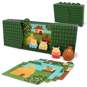 Papercraft recortable del Cuentacuentos de los Tres Cerditos / The Three Little Pigs. Manualidades a Raudales.
