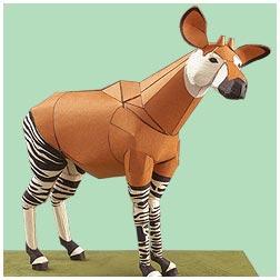 Papercraft de un okapi. Manualidades a Raudales.