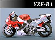Papercraft recortable de la motocicleta Yamaha YZF-R1 de 1998. Manualidades a Raudales.