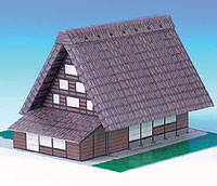 Papercraft building de Shirakawa Village en Japón. Manualidades a Raudales.
