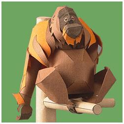 Papercraft de un Orangután de Sumatra. Manualidades a Raudales.