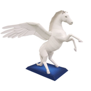 Papercraft recortable y armable del caballo Pegaso. Manualidades a Raudales.