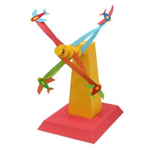 Papercraft de una Torre molinete con aviones. Manualidades a Raudales.