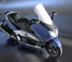 Papercraft imprimible y armable de la motocicleta Yamaha TMAX 2002.  Manualidades a Raudales.