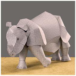 Papercraft de un rinoceronte indio. Manualidades a Raudales.