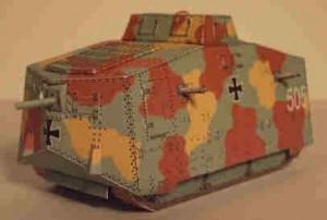 "Papercraft Tanque A7V ""Baden I"". Manualidades a Raudales."