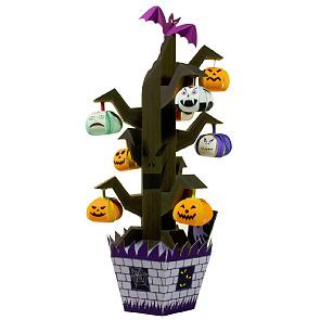 Papercraft de un árbol de calabazas para Halloween. Manualidades a Raudales.